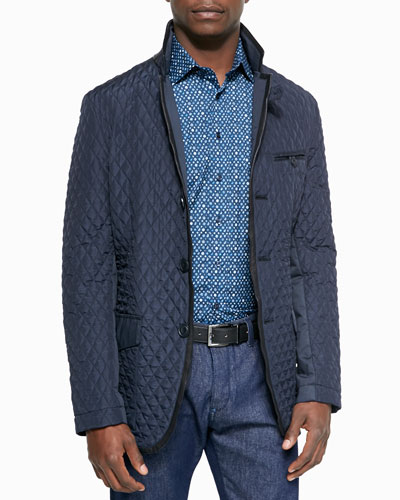 Small Paisley and Diamond Print Sport Shirt & Diamond-Quilted Down-Filled Jacket