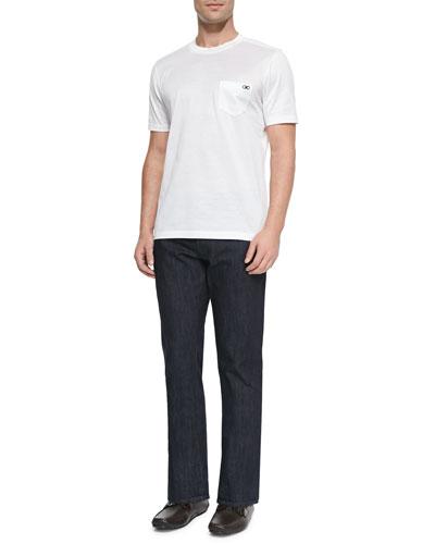 Woven Crewneck T-Shirt & Dark-Wash 5-Pocket Jeans