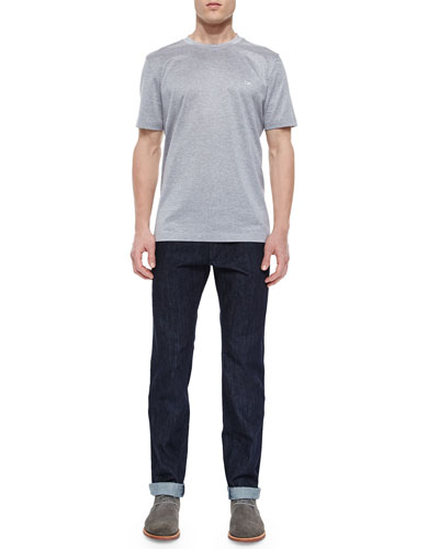Gancini Woven Crewneck Tee & Dark-Wash 5-Pocket Jeans