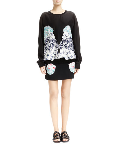 Long-Sleeve Top & Black Skirt with Embroidered Appliqués