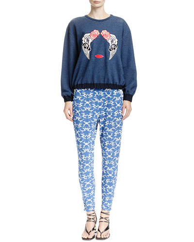 Long-Sleeve Sweatshirt with Appliqués & Abstract Printed Pants with Contrast Waistband