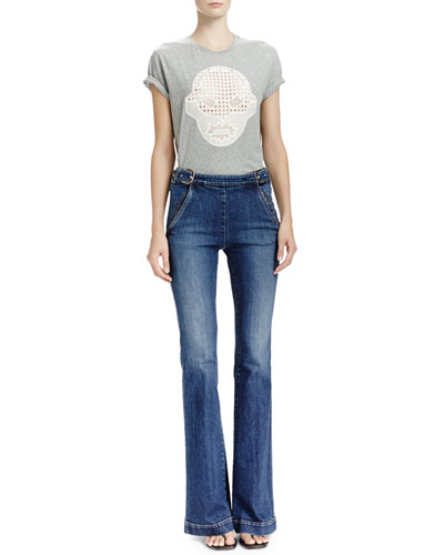T-Shirt with Superhero Lace Appliqué & Flare-Leg Jeans with Side Buckles