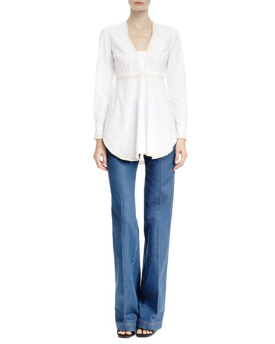 V Neck Top with Embroidered Trim & High-Waist Flare-Leg Denim Pants