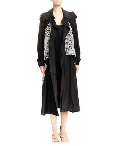 Caban Coat with Appliqué Wings, Scoop-Back Tank with Floral Embroidery & Embroidered Lace Shorts with Scalloped Hem