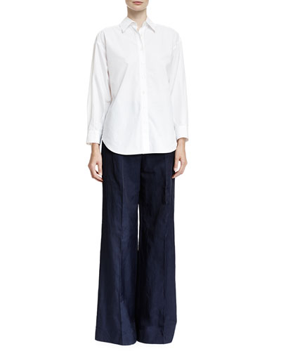Long-Sleeve Blouse with Bow-Tie Back & Flat-Front Wide-Leg Pants
