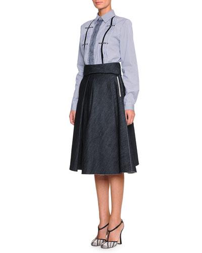Pinstripe Grommet-Detailed Blouse & Full A-Line Denim Skirt
