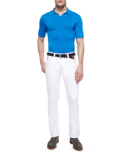 Johnny-Collar Short-Sleeve Polo Shirt & Five-Pocket Stretch-Knit Jeans