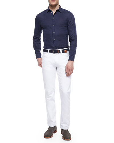 Woven Long-Sleeve Linen Shirt & Five-Pocket Stretch-Knit Jeans