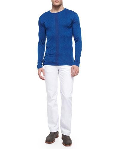 Center-Stripe Melange Sweater & Five-Pocket Stretch-Knit Jeans