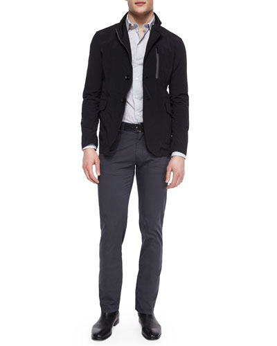 Nylon Zip-Up Blazer Jacket, Small-Check Woven Dress Shirt & Five-Pocket Slim-Fit Stretch Pants