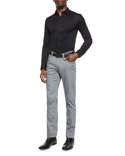 Solid Woven Sport Shirt & Five-Pocket Stretch Jeans