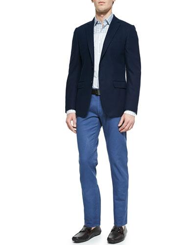 Two-Button Cotton Jacket, Plaid Yoke Striped Sport Shirt & Five-Pocket Cotton Trousers