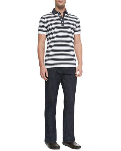 Striped Knit Polo Shirt & Dark-Wash 5-Pocket Jeans
