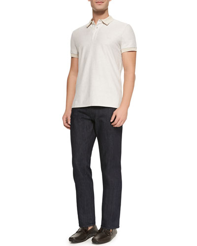 Knit Three-Button Polo Shirt & Dark-Wash 5-Pocket Jeans