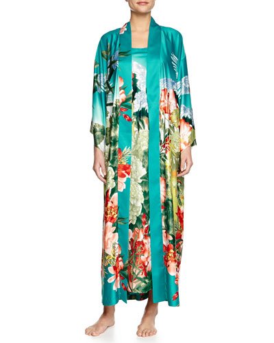 Birds of Paradise Long Satin Gown & Robe, Freshwater