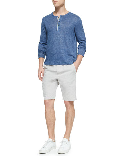 Long-Sleeve Linen Henley & Men's Linen Drawstring Shorts