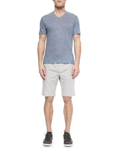 Linen Striped V-Neck Tee & Linen Drawstring Shorts