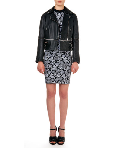 Sleeveless Floral-Pattern Dress & Leather Biker Jacket with Zip-Off Hem