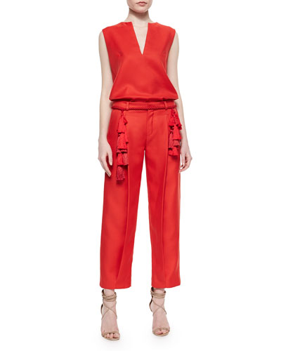 Split-Neck Wool-Blend Shell, Rope Tassel Belt & Front-Pleat Tapered Cropped Pants