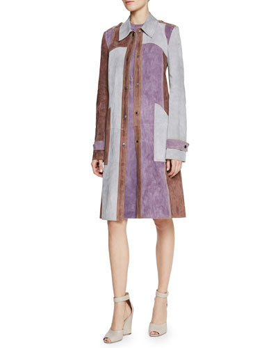 Tri-Tone Suede Patch-Pocket Trench Coat & Contrast Topstitched Suede Shift Dress