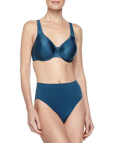 Beauty Full Figure Underwire Bra & B-Smooth High-Cut Briefs, Blue