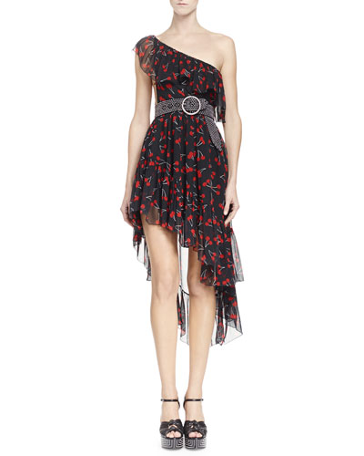 One-Shoulder Cherry-Print Silk Dress & Embellished Leather Belt with Round Buckle