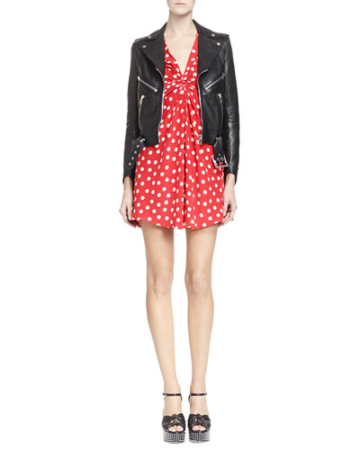 Leather Motorcycle Jacket with Belted Waist & Long Sleeve V Neck Polka Dot Dress