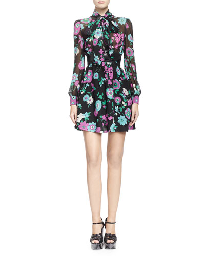 Tie-Neck Silk Floral-Print Dress & Wide Faux-Python Belt