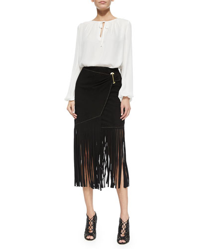 Tie-Neck Keyhole Blouse & Long Fringe Wrap Skirt