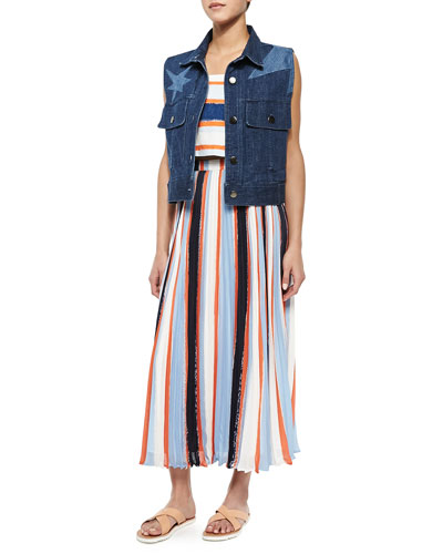 Calvin Denim Star Vest, Nelly Tie-Strap Crop Top & Koa Pleated Striped Chiffon Skirt