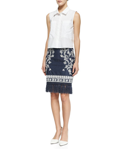 Cisco Sleeveless Point-Collar Blouse & Helen Embroidered Denim Pencil Skirt