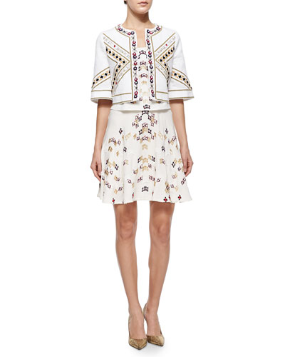 Billy Embroidered Cropped Open Jacket, Charlotte Embroidered Cropped Tank & Amelia Embroidered A-Line Skirt