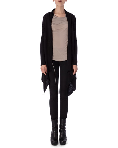 Long-Sleeve Wrapped Long Cardigan, Bonnie Drape-Neck Sleeveless Tee & Aircut Moderate-Rise Leggings