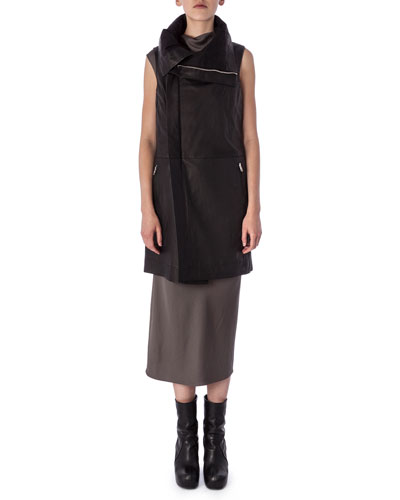 Zip-Front Lambskin Biker Vest & Bonnie High-Neck Sleeveless Dress