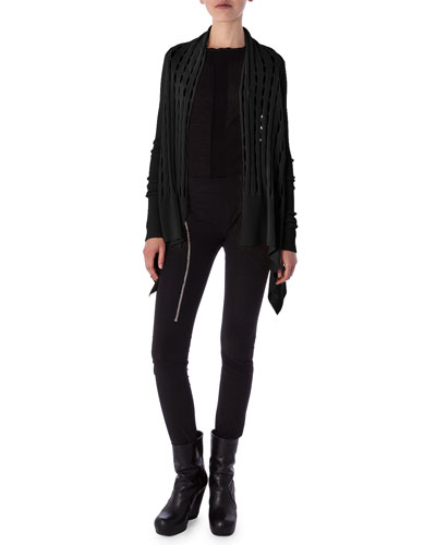 Aircut Moderate-Rise Leggings in Stretch Knit, Tunica Samincata Sleeveless Tunic & High-Low Cardigan in New Wool Knit