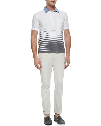 Engineered Popover Polo Shirt with Denim Collar & Slim-Fit Woven Chino Pants