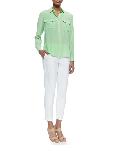 Long-Sleeve Flap-Pocket Silk Blouse & Crosby Zipper-Cuff Ankle Pants