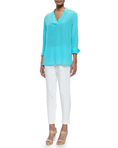 V-Neck High-Low Silk Tunic & Crosby Zipper-Cuff Ankle Pants