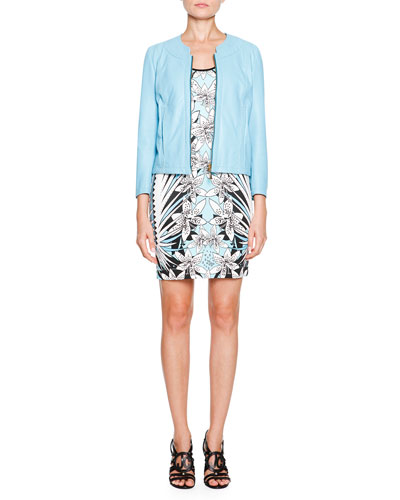 Leather Jacket with Bow Details & Cap-Sleeve Floral-Print Sheath Dress