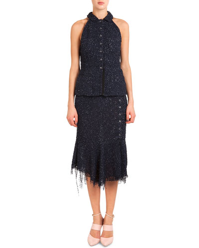 Button-Front Sequined Halter Top & Side-Button Skirt W/ Fringe Hem
