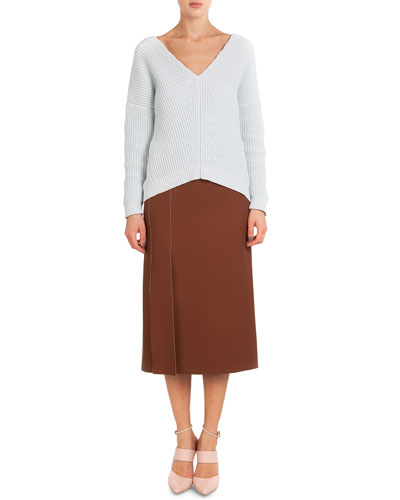 Cotton-Cashmere Split Chiffon-Back Sweater & High-Slit Crepe Midi Skirt
