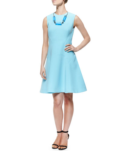 Raised Seam Scuba Dress & Two-Tone Cutout Station Necklace