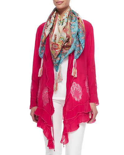Ruffle Cover Up Cardigan, Scoop-Neck Cotton Tank & Hummingbird Printed Silk Scarf, Women's