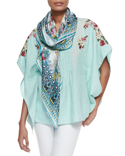 Rosalie Linen Pintucked Poncho & Silk Georgette Novel Floral Square Scarf, Women's