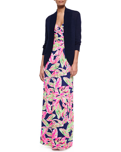 Amalie Long-Sleeve Open Cardigan & Villa Printed Empire-Waist Maxi Dress