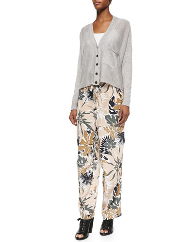 Cashmere Serena Loose Cardigan & Victoria Tie-Waist Floral-Print Pants