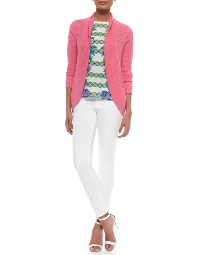 Amalie Long-Sleeve Open Cardigan, Iona Printed Shell & Worth Skinny Jeans