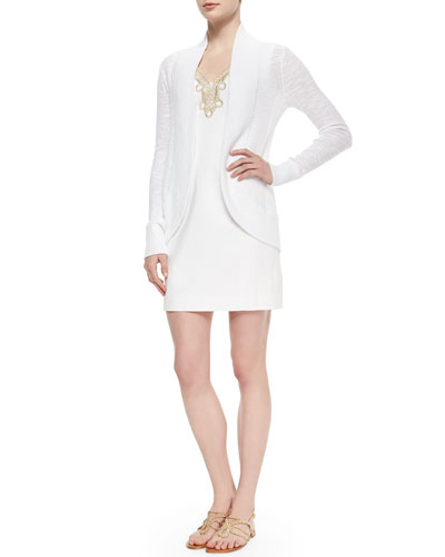 Amalie Long-Sleeve Open Cardigan & Bentley Shift Dress W/ Gold Lace Trim