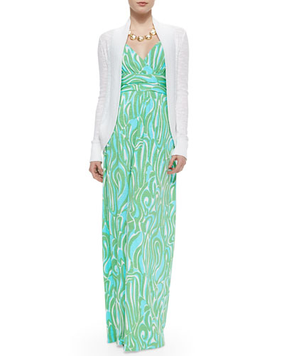Amalie Long-Sleeve Open Cardigan, Villa Printed Empire-Waist Maxi Dress & Everglades Alligator Charm Statement Necklace