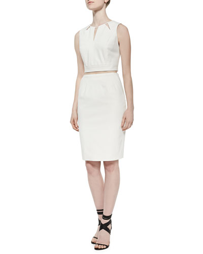 Geometric Cutout Crop Top & Slim Gabardine Pencil Skirt, Cream